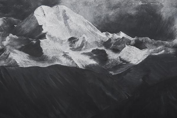 Fatigues (2012), Chalk on blackboard, 3 panels, 2.23 x 4.85m