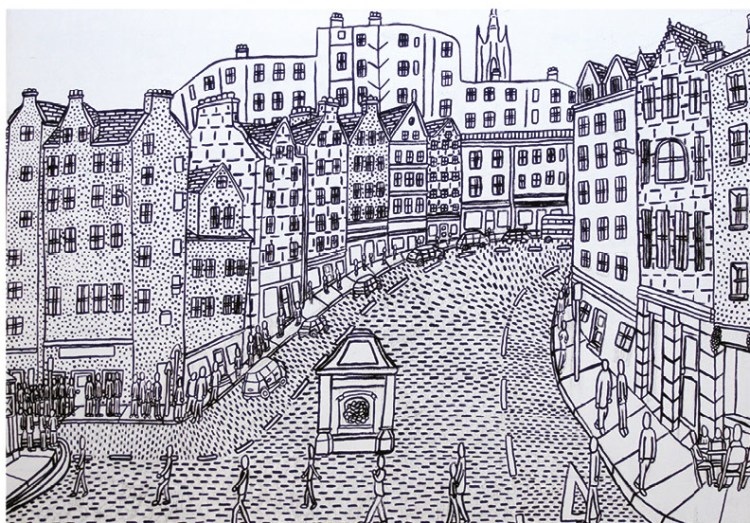 ". ""Victoria Street leading to Edinburgh's Grassmarket"", Alan Lucchesi"