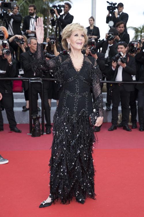 Jane Fonda with the Roger Vivier Boite de Nuit Flower Net clutch Cannes 2018