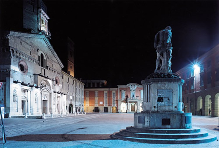 An eerily empty Piazza Prampolini
