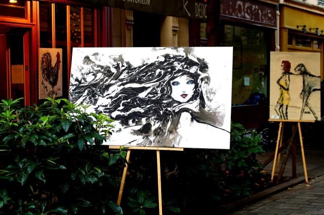 Painting by Buzz Siler, art gallery Rue du Trésor, Marais, Paris
