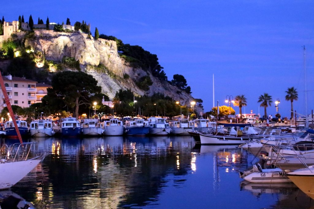 The Glittering Unknown, Calanques and Cassis, marina by night Cassis