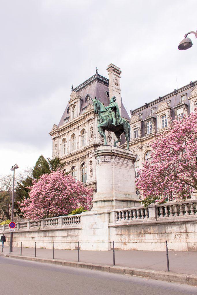 Cherry blossom Paris- Hotel de Ville- THE GLITTERING UNKNOWN