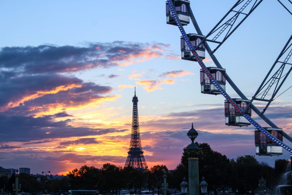 Sunset from Jardin des Tuileries over Concorde- 5 Best Sunset Spots in Paris