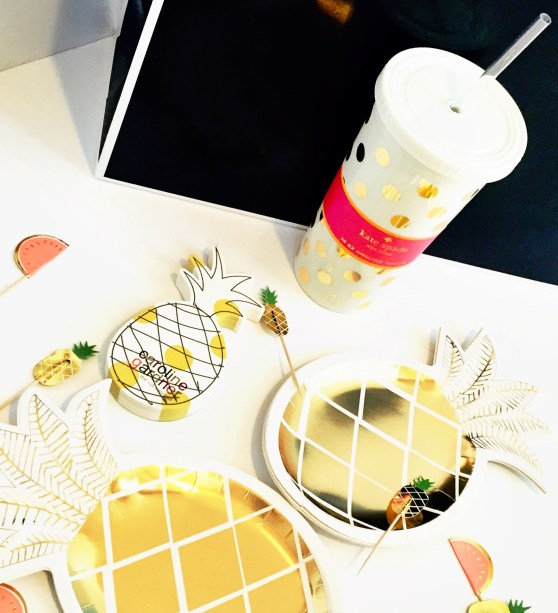 party goods, party paper products, papercrush, pineapple plates, Kate spade cup,