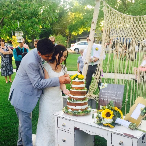 boho wedding, garden wedding, naked cake, macrame backdrop, sunflower wedding decor, wedding ideas,