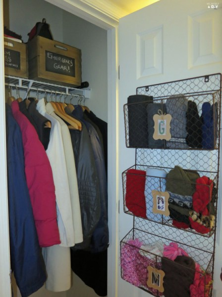 coat closet organization, how to organize your entry way closet, what to put in your front entryway closet.