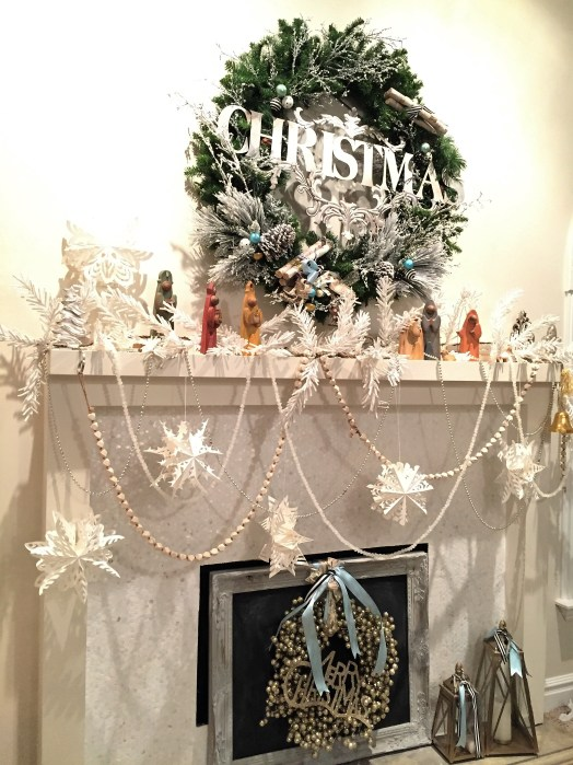 Christmas ornaments, Christmas decorations, pastel decorations, paper snowflakes, mantel love, wreaths, Christmas wreaths
