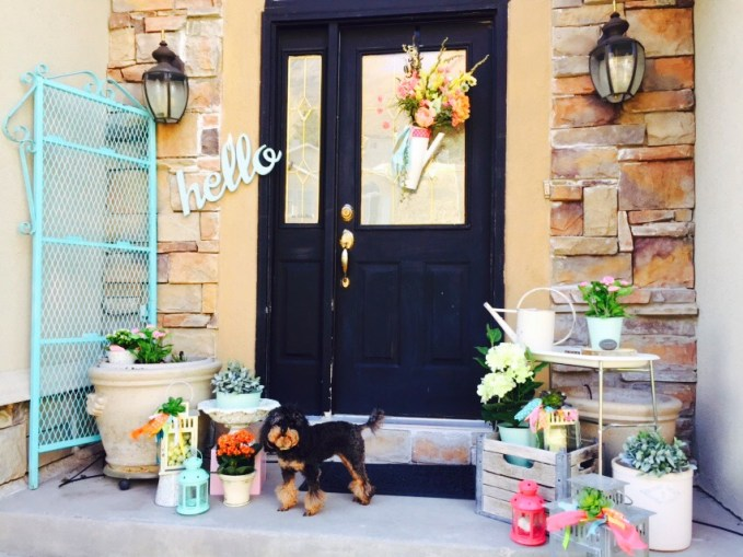 front porch ideas, front door wreaths, spring decor, lanterns, flowers, how to decorate your front porch for spring