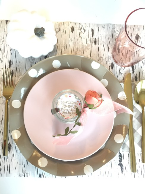 Thanksgiving table-settings, Table settings, Sophistiplate, IKEA, the container store, target, free printable, thanksgiving printable , pink and taupe table setting, cute paper plates, birch wrapping paper, modern thanksgiving tables-cape,