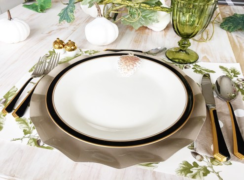 Thanksgiving table-settings, Table settings, Sophistiplate, the container store, target, free printable, thanksgiving printable , pink and taupe table setting, cute paper plates, birch wrapping paper, modern thanksgiving tables-cape, gold place-settings, Hester and cook,