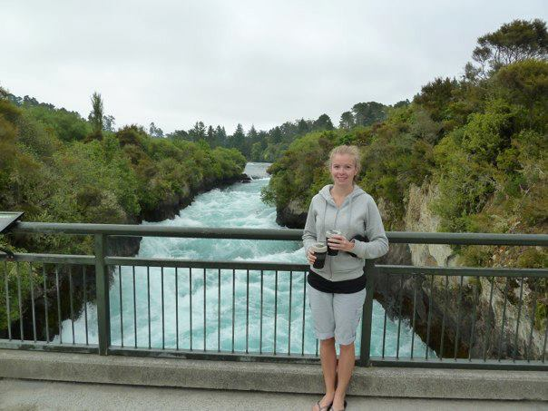 An early morning coffee beside Huka Falls, Taupo