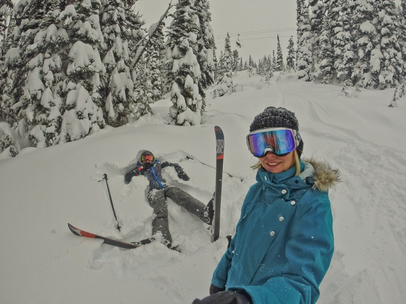 Making snow angels at Whistler