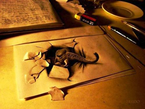amazing 3d paper drawing 3d elephant