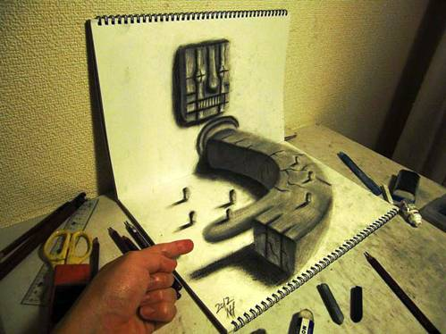 beautiful 3d hand drawing