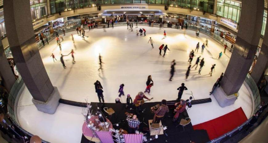 Ice Skating at Atrium Le 1000 in Montreal