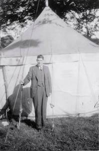 Harold P by tent