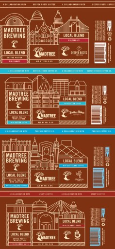 The labels for MadTree's Local Blend Coffee Beer Four Pack.  Set for release on January 7th, 2019.