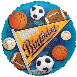 Globo Mylar Happy Birthday Sports