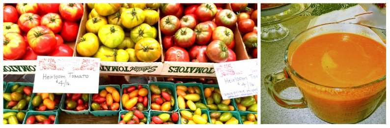Tomatoes at market are at their peak; an easily made cream of tomato soup, served hot or cold