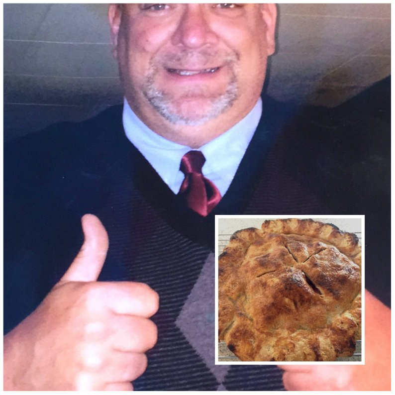 Keith Boyle-- recent photo offered by Uncle's Farm owner Mike Farwell; inset; his Grandmother Gilbert's crabapple pie