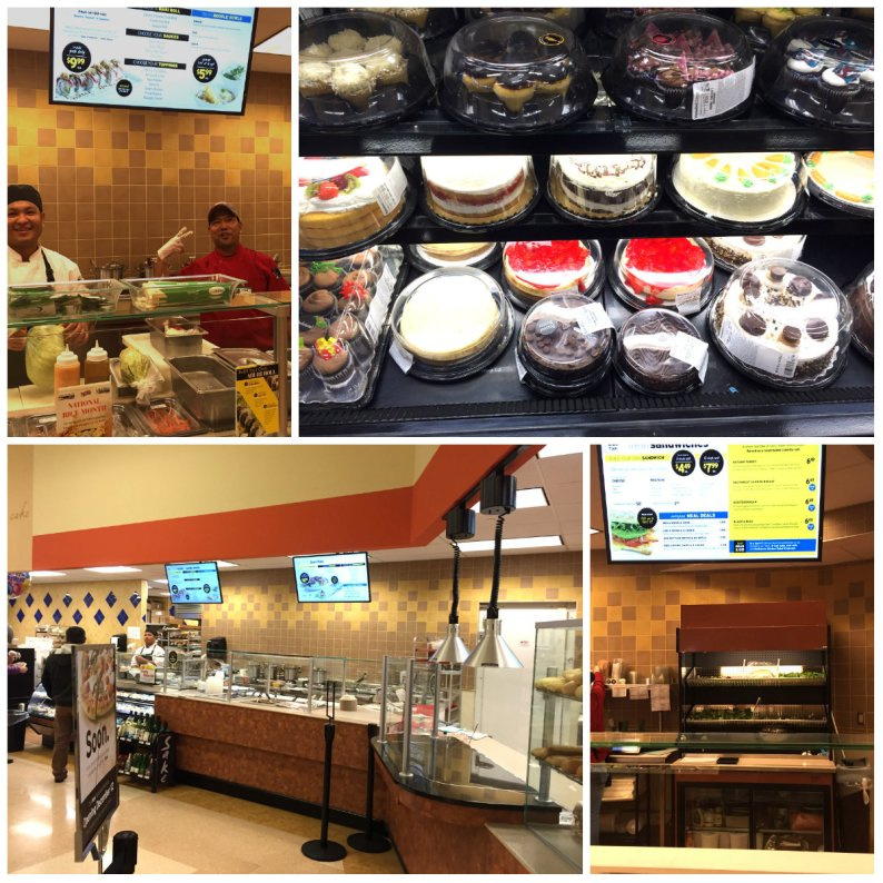 The various food stations at Forest Avenue Hannaford