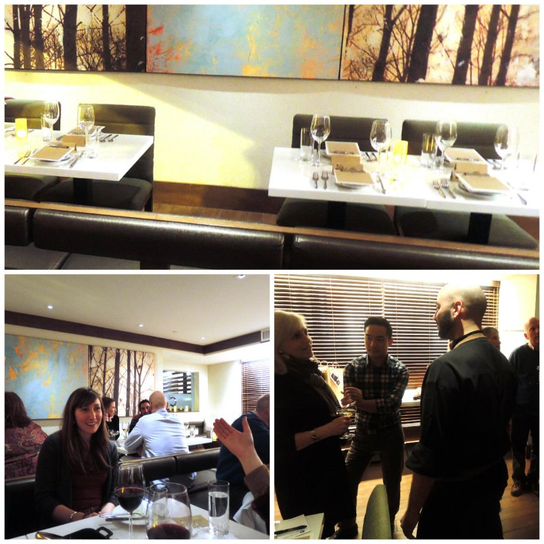 "Clockwise: C2""s banquettes; chef Brian Anderson (right) and attendees at the press and industry dinner"