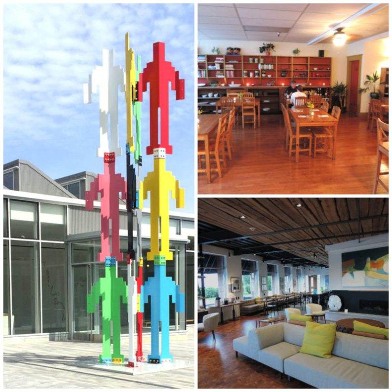 Scenes from Rockland, clockwise: the Plaza at the Center for Maine Contemporary Art; dining room at Sammy's Deluxe and the lobby at 250 Main Hotel