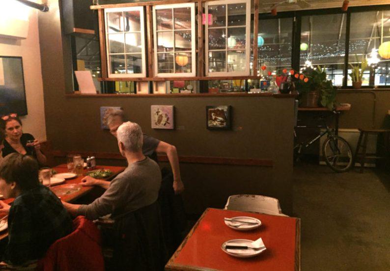 The no-frills dining room at Bonobo