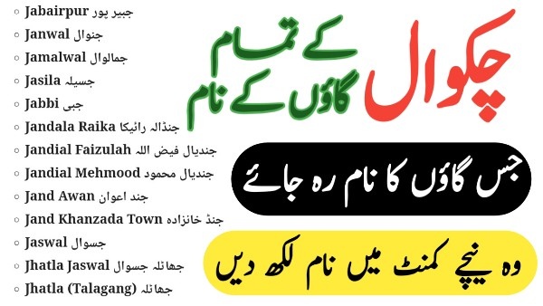 Name of All Chakwal Villages - List of Chakwal Villages Names - THE GONDAL APK 2021