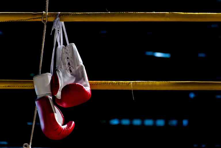 Gloves in boxing ring