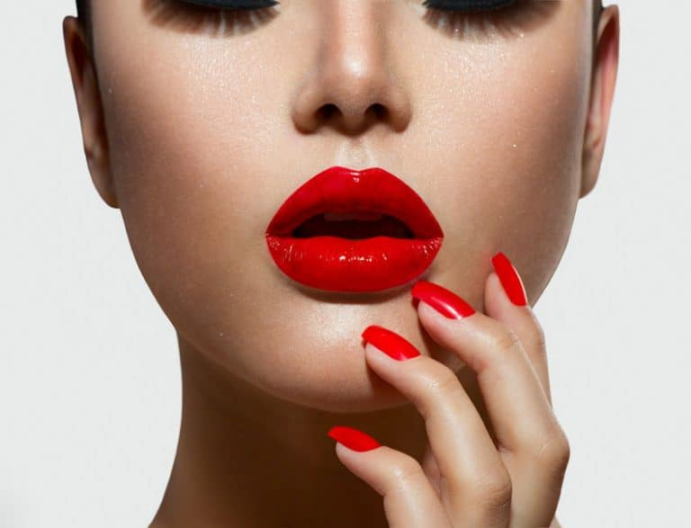 Red intense lips