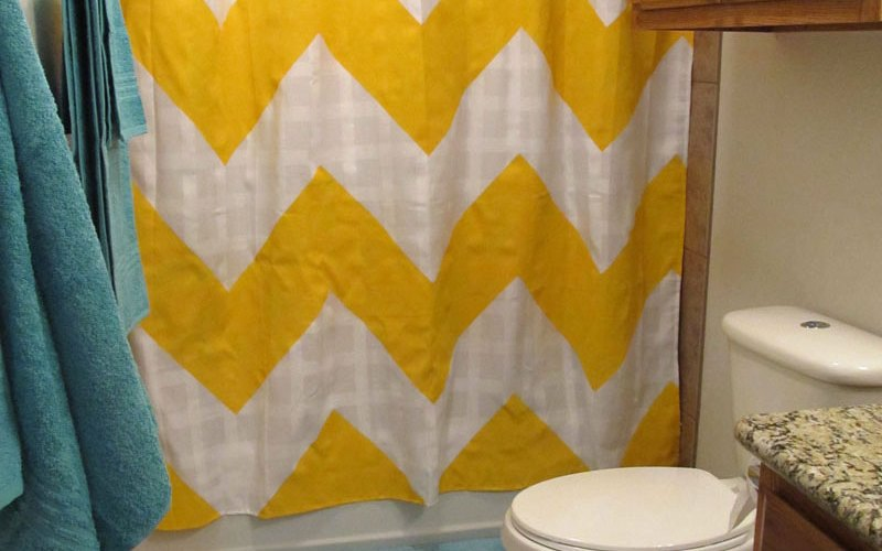 DIY Chevron Stripe Shower Curtain | The Good, The Bad, And The Truth