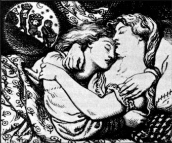 "Illustration for ""The Goblin Market"" by Rossetti's brother, Dante Gabriel Rossetti"