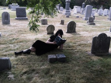 Reading in graveyard