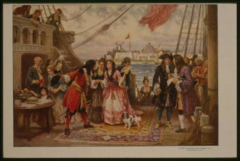 A painting of Captain Kidd welcoming a woman aboard his ship in New York harbor. (Library of Congress)