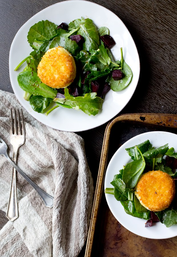 Fried Goat Cheese with Beets and Greens