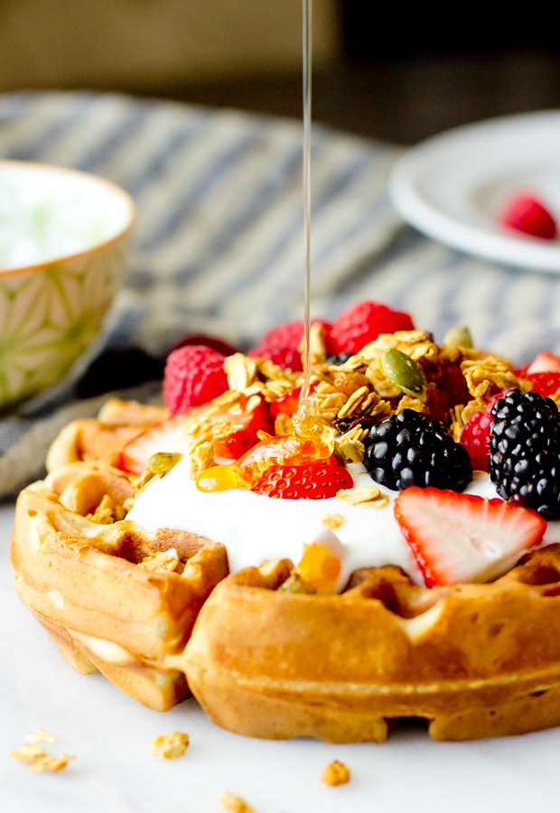 Brown Butter Waffles with Yogurt and Fruit