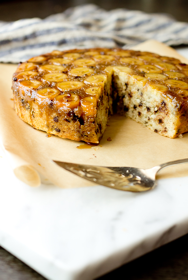 Upside Down Banana Chocolate Chip Cake - thegourmetgourmand.com