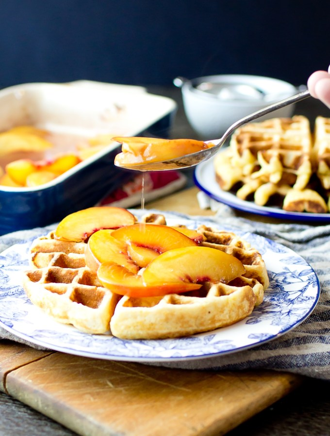 Cornmeal Waffles with Bourbon Peaches