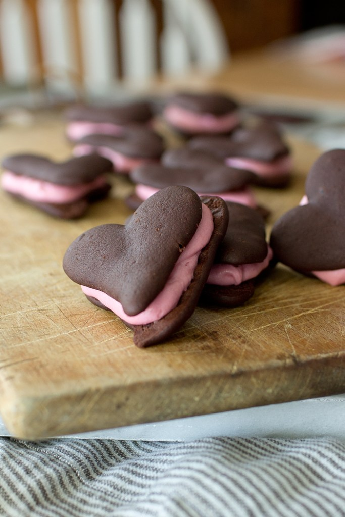 Whoopie Pie Hearts with Raspberry Buttercream