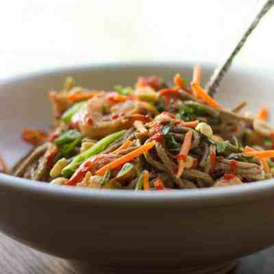 Summer Veggie, Shrimp & Soba Noodle Salad with Peanut Dressing