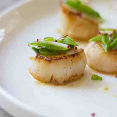Orange-Ginger Seared Scallops + Sugar Snap Pea Slaw