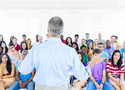 speaker, meeting, people