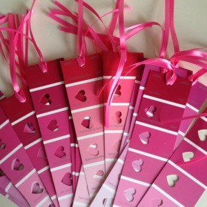 Valentines Day Ideas, paint sample bookmarks, February