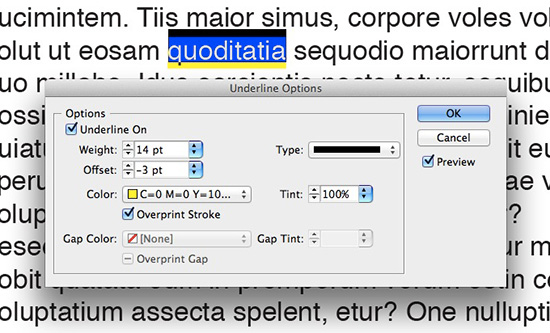 Highlight effect in your InDesign text