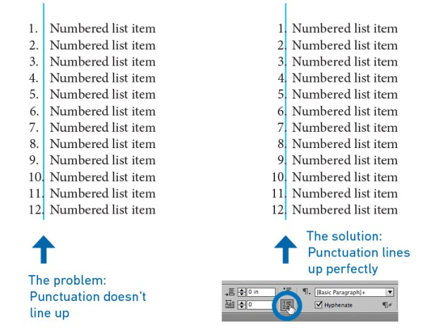 InDesign numbered lists