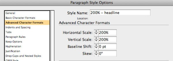 Percentage-based paragraph styles