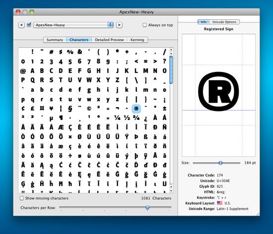 FontExplorer X Pro's Font Info window