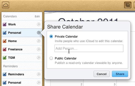 iCloud calendar sharing